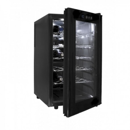 Armario refrigerador eléctrico negro 48L de 18 botellas.
