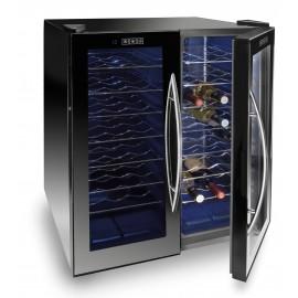 Armario refrigerador eléctrico negro 140L de 48 botellas.(Doble cámara)