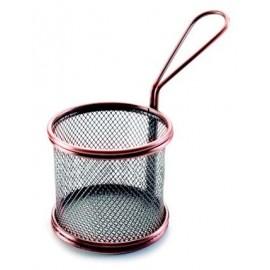 Mini cestillo Bronce redondo de rejilla para servir tapa.