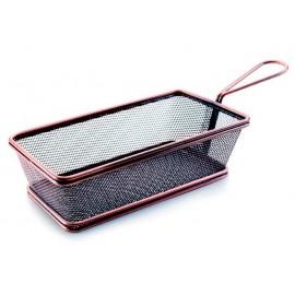 Cesta retangular para servir em uma mesa. Acabamento de bronze.