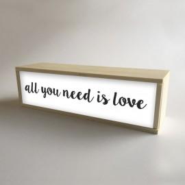 """Lâmpada de caixa de luz decorativa branca com 32x9,5cm mensagem """"All You Need is Love"""" (fundo de 9,5cm)"""