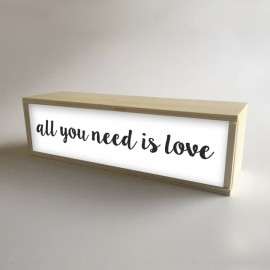 "Lámpara Caja de Luz Decorativa en Blanco con mensaje ""All You Need is Love"" de 32x9,5cm (fondo 9,5cm)"