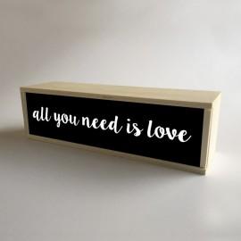 """Lâmpada de caixa de luz decorativa preta com 32x9,5cm mensagem """"All You Need is Love"""" (fundo de 9,5cm)"""