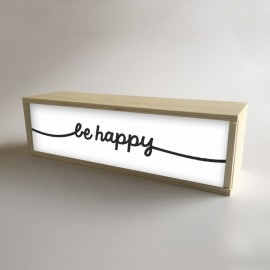 """Caixa de luz decorativa de madeira e branco com 32x9,5cm mensagem """"seja feliz"""" (fundo de 9,5cm)"""