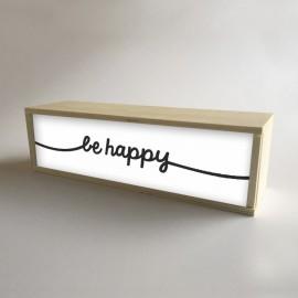"""Caja de Luz Decorativa en madera y Blanco con mensaje """"be happy"""" de 32x9,5cm (fondo 9,5cm)"""