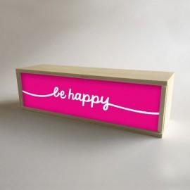 """Caixa de luz decorativa em madeira e fúcsia com 32x9,5cm mensagem """"seja feliz"""" (fundo de 9,5cm)"""