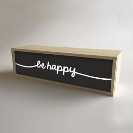 """Caixa de luz decorativa de madeira e preto com 32x9,5cm mensagem """"seja feliz"""" (fundo de 9,5cm)"""