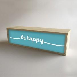 """Caixa de luz decorativa em madeira e turquesa com 32x9,5cm mensagem """"seja feliz"""" (fundo de 9,5cm)"""