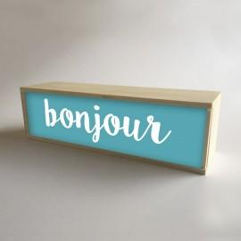 """Design de caixa de madeira iluminada no fundoTurquesa com mensagem """"bonjour"""" de 32x9,5 cm (fundo de 9,5cm)"""