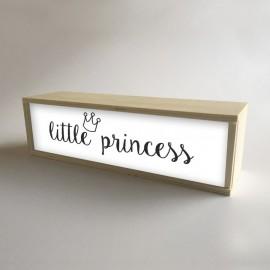 """Caja con luz interior, decoración infantil para niña Blanco con mensaje """"little princess"""" de 32x9,5cm (fondo 9,5cm)"""