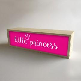 """Caja con luz interior, decoración infantil para niña Fucsia con mensaje """"little princess"""" de 32x9,5cm (fondo 9,5cm)"""