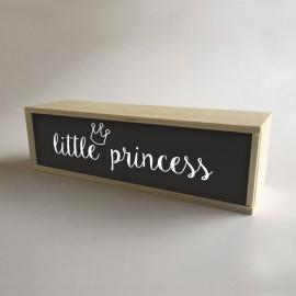 """Caja con luz interior, decoración infantil para niña Negro con mensaje """"little princess"""" de 32x9,5cm (fondo 9,5cm)"""