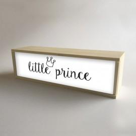 """Caja de madera con luz interior, decoración infantil para niños Blanco con mensaje """"little prince"""""""