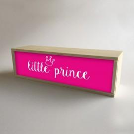 """Caixa de madeira com luz interior, presente infantil para crianças fúcsia com mensagem """"pequeno príncipe"""""""