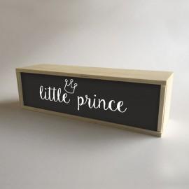 """Caixa de madeira com luz interior, decoração e presente para crianças Preta com mensagem """"princeinho"""""""