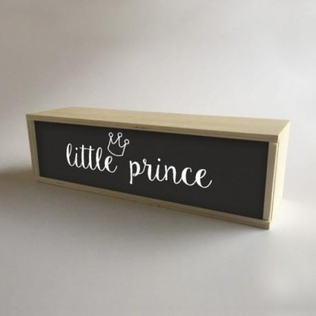 """Caja de madera con luz interior, decoración y regalo para niños Negro con mensaje """"little prince"""""""