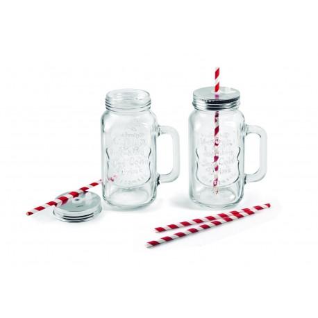 Pack 2 jarras con tapón metálico y pajita