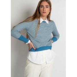 Camisa jacquard em tons azuis