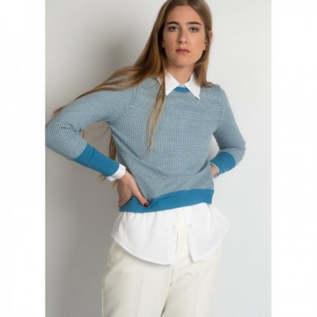 Jersey Jacquard en tonos azules