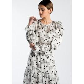 Vestido Estampado Floral en blancos y negros