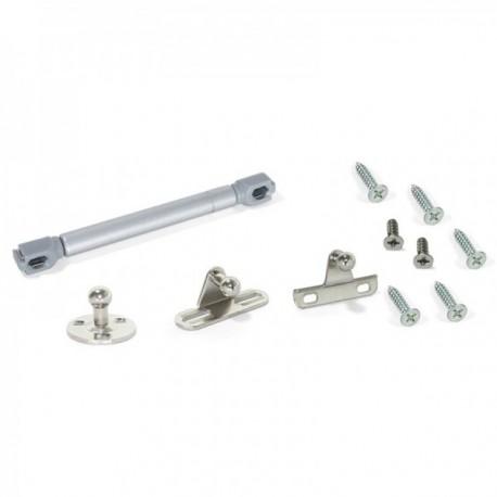 Pistón a gas para puertas abatibles con enganches (6 kg - 80 mm) Gris metalizado