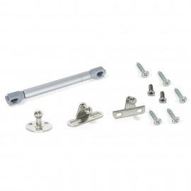 Pistón a gas para puertas abatibles con enganches (12 kg - 80 mm) Gris metalizado