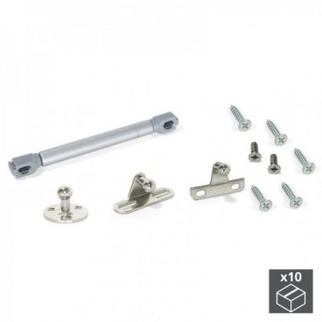 10 juegos (6 kg - 80 mm) de Pistón a gas para puertas abatibles con enganches Gris metalizado