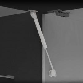 Pistón a gas para puertas elevables con enganches (11 kg - 100 mm) Gris metalizado