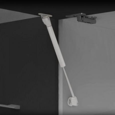 Pistón a gas para puertas elevables con enganches (11 kg - 80 mm) Gris metalizado
