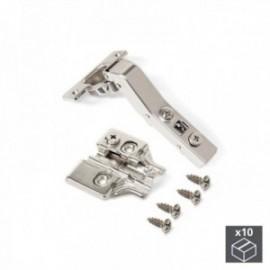 10 conjuntos (Angular 45o) Dobradiça da panela X91, fechamento macio, braço angular de 45o, suplemento de rosca banhado a níquel