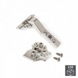 10 conjuntos (Angular 45o) Dobradiça de panela X91, fechamento macio, braço angular de 45o, suplemento euro banhado a níquel