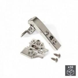 10 conjuntos (Angular 90o) Dobradiça de panela X91, fechamento macio, braço angular de 90o, suplemento banhado a níquel euro