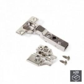 20 conjuntos (Cotovelo) Dobradiça de panela X91N, abertura de 100o, suplemento euro banhado a níquel
