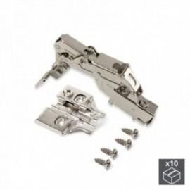 10 conjuntos (Supercodo) Dobradiça da panela X91, fechamento macio, abertura de 165o, suplemento de rosca banhado a níquel