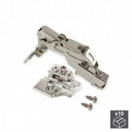 10 conjuntos (Supercodo) Dobradiça de panela X91, fechamento macio, abertura de 165o, suplemento banhado a níquel euro