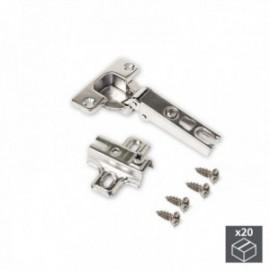 20 conjuntos (reto) dobradiças X95, com abertura de 110o e suplementos de rosca banhados por níquel
