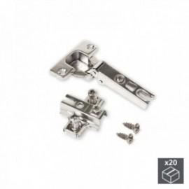 20 conjuntos (reto) dobradiças X95 com abertura de 110o e suplementos banhados a níquel euro