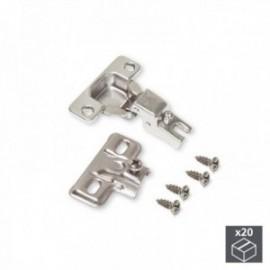 20 conjuntos (reto) dobradiças C50 com abertura de 105o e suplementos de rosca banhados por níquel