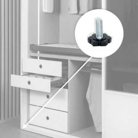 20 unidadess (H 20 mm) de Pie nivelador para mueble con base hexagonal, M6 Cincado