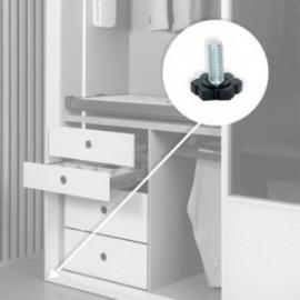 20 unidadess (H 25 mm) de Pie nivelador para mueble con base hexagonal, M6 Cincado