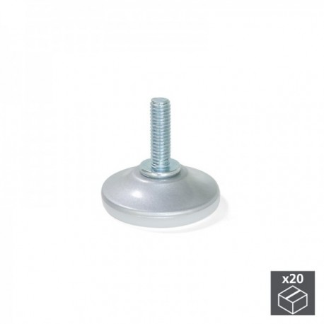 20 unidadess (diam: 35 mm) de Pie nivelador para mueble con base circular, M6 Gris metalizado