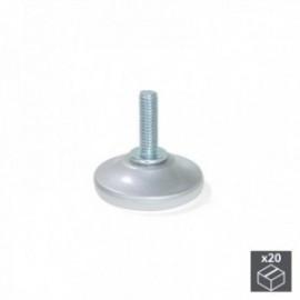 20 unidadess (diam: 43 mm) de Pie nivelador para mueble con base circular, M6 Gris metalizado