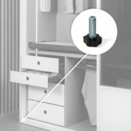 20 unidadess (H 38 mm) de Pie nivelador para mueble con base hexagonal, M8 Cincado