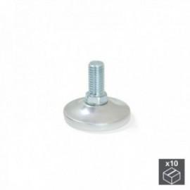 10 unidadess (H 37 mm) de Pie nivelador para mueble con base circular, M10 Cromado mate