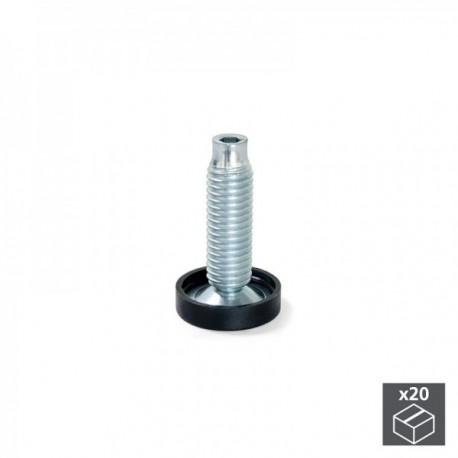 20 unidadess (H 38 mm) de Pie nivelador para mueble con regulación interior, M10 Cincado
