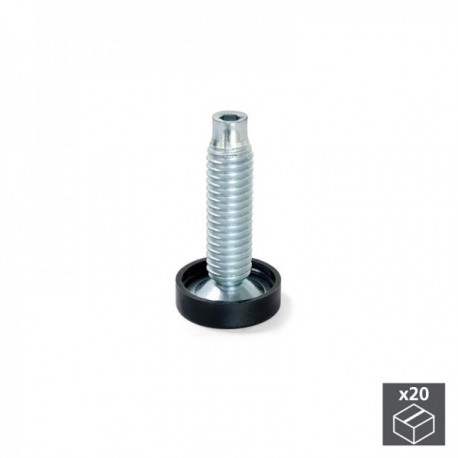 20 unidadess (H 61 mm) de Pie nivelador para mueble con regulación interior, M10 Cincado