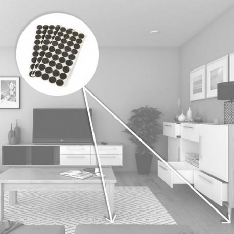 Protectores de fieltro adhesivo para muebles (diam: 40 mm) Marrón
