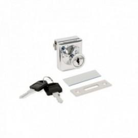 Cerradura de bombillo para puerta de cristal (1 puerta) Cromado