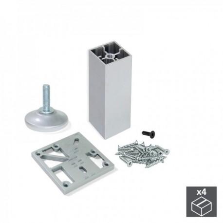 Kit pie nivelador para mueble Prisma (H 90 mm) Anodizado Mate