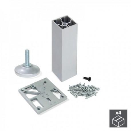 Kit pie nivelador para mueble Prisma (H 150 mm) Anodizado Mate